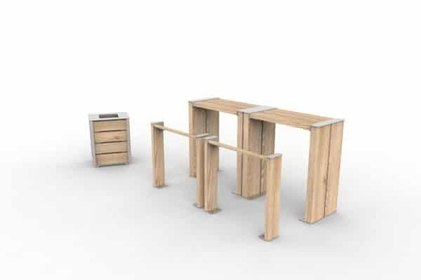 Deux assis-debout NUT avec leurs tables bar NUT, et une corbeille de propreté NUT