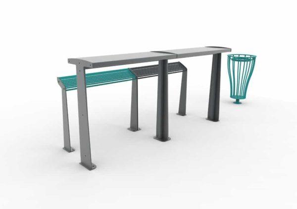 Deux assis-debout TUB bleu et gris avec leur table bar TUB grise, et une corbeille Vigipirate bleue à droite