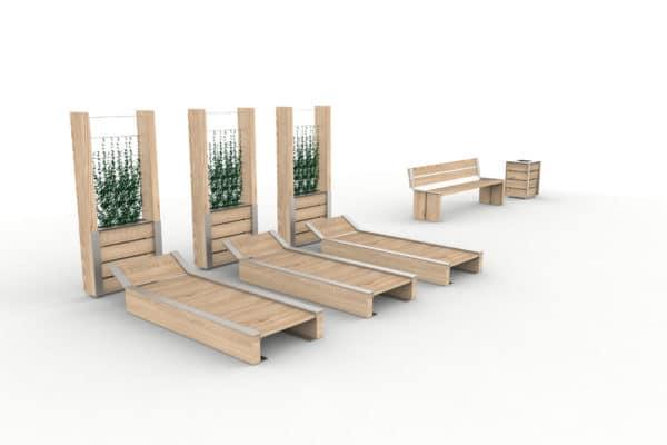 Trois bancs de soleil NUT espacés, avec derrière chacun d'eux une jardinière treillage NUT ; à droite, un banc 3 places NUT avec une corbeille de propreté NUT