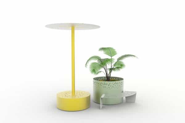 Un banc galet abrité XL LUD jaune, une jardinière XL LUD verte et un banc courbe LUD gris