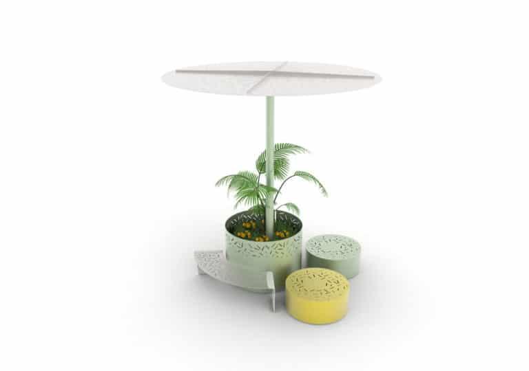 Une jardinière XL LUD verte avec à l'intérieur une ombrelle XL LUD verte, une banquette courbe LUD grise et deux bancs galet LUD jaune et vert