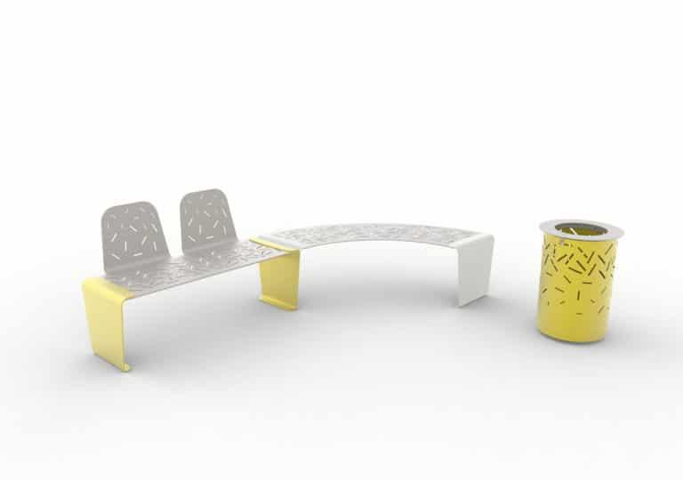 Un banc LUD avec deux dossiers jaune accolé à une banquette courbe LUD grise, et une corbeille LUD jaune