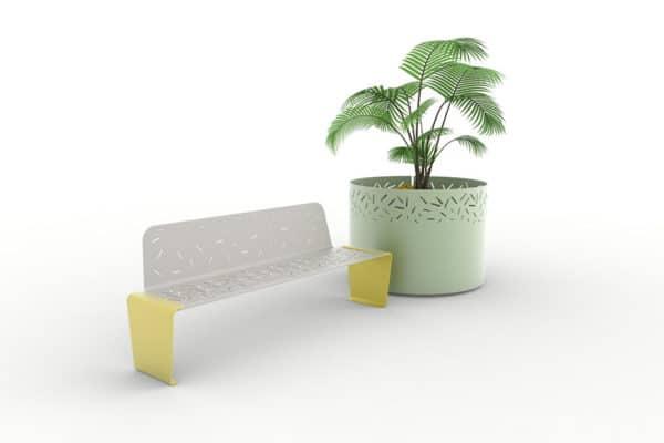 Un banc XL LUD jaune et une jardinière XL LUD verte