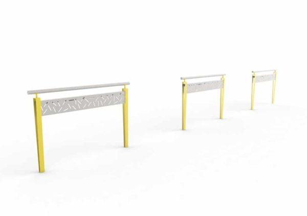 Trois barrières LUD jaunes