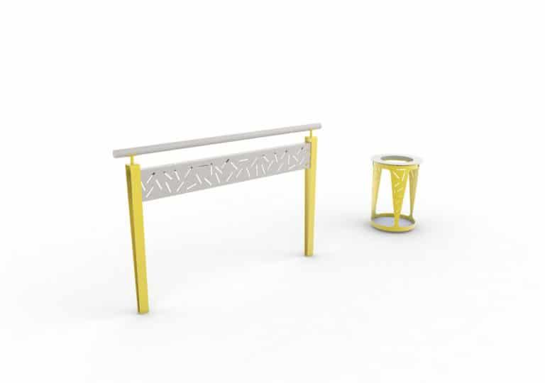 Une barrière LUD et une corbeille Vigipirate LUD, toutes les deux jaunes