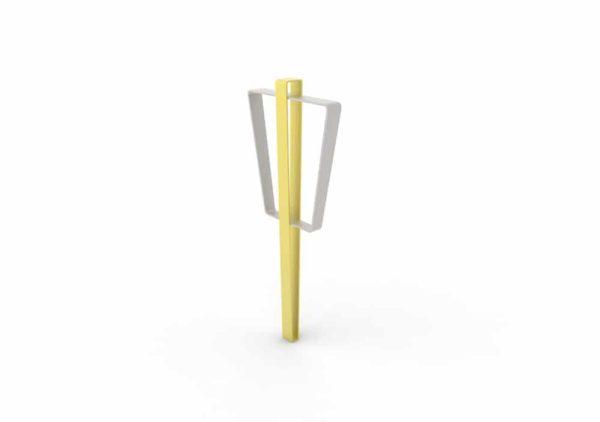 Une borne à vélo LUD jaune