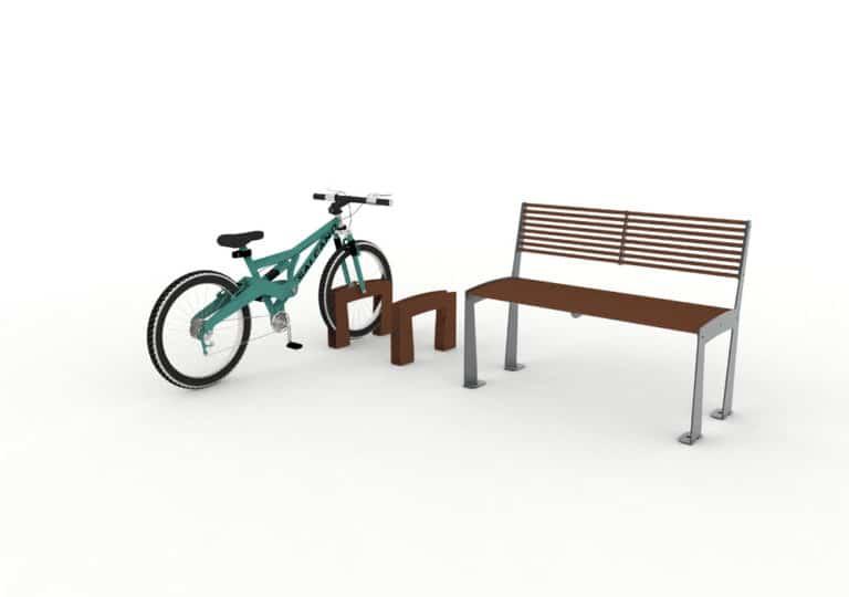 Deux bornes à vélo TUB où un vélo est rangé dans l'une d'entre elles, et un banc TUB marron