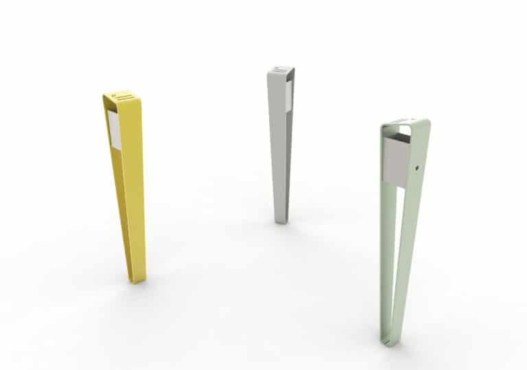 Trois cendriers LUD : un jaune, un gris et un vert