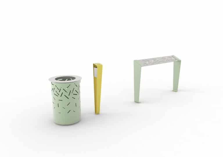 Une corbeille LUD verte, un cendrier LUD jaune et un assis-debout LUD vert