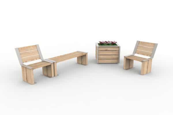 Une chaise NUT accolée à une banquette NUT, une jardinière NUT, et une autre chaise NUT