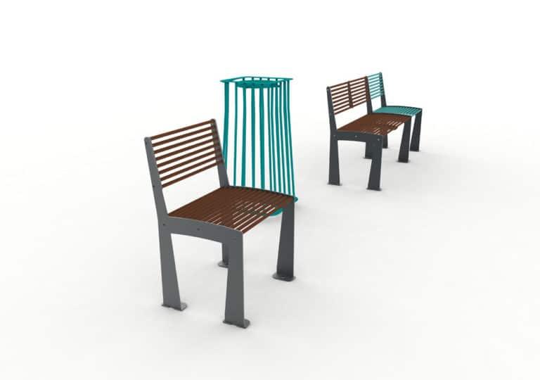 En premier plan, une chaise TUB marron avec une corbeille Vigipirate carrée TUB bleue ; en arrière-plan, un banc TUB marron et une chaise TUB bleue