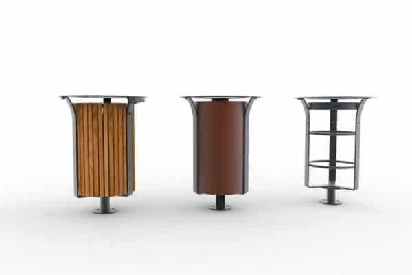 Trois corbeilles Azilal : une bois, une métal et une Vigipirate