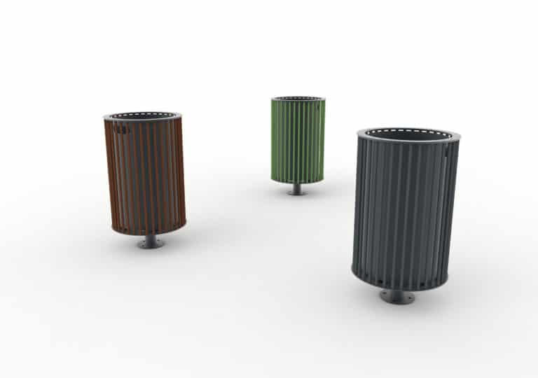 Trois corbeilles cylindriques TUB : une marron, une verte et une grise