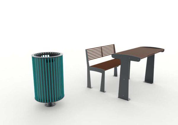 À gauche, une corbeille cylindrique TUB bleue ; à droite, une table TUB marron avec son banc TUB marron