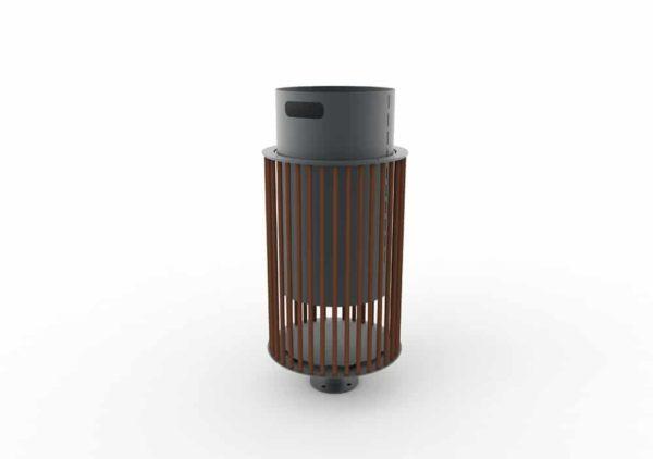Une corbeille cylindrique TUB marron avec son bac