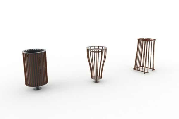 Une corbeille cylindrique TUB, une corbeille Vigipirate vase TUB et une corbeille Vigipirate carrée TUB, toutes trois marron