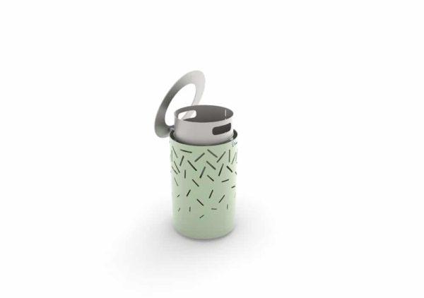 Une corbeille LUD verte, ouverte, montrant son bac de contenance 60 L