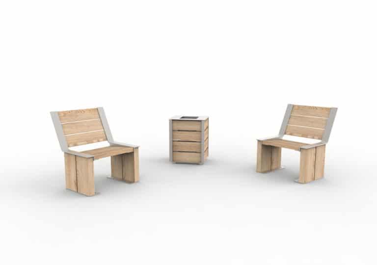 Une corbeille de propreté NUT entre deux fauteuils NUT