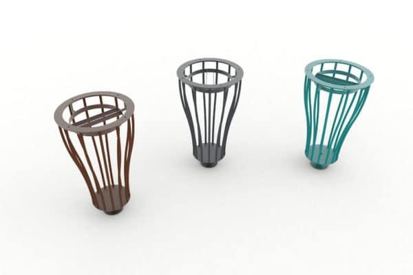 Trois corbeilles Vigipirate vase de tri TUB : une marron, une grise et une bleue