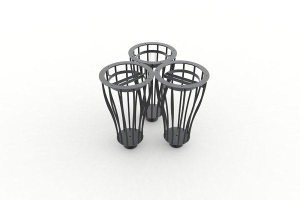 Trois corbeilles Vigipirate vase de tri TUB grises accolées