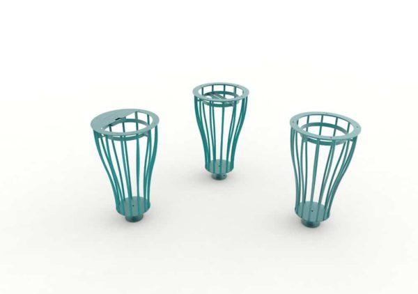 Les trois modèles de corbeilles Vigipirate vase TUB bleues : une cendrier, une tri et une simple