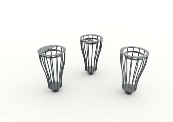Les trois modèles de corbeilles Vigipirate vase TUB grises : une cendrier, une tri et une simple