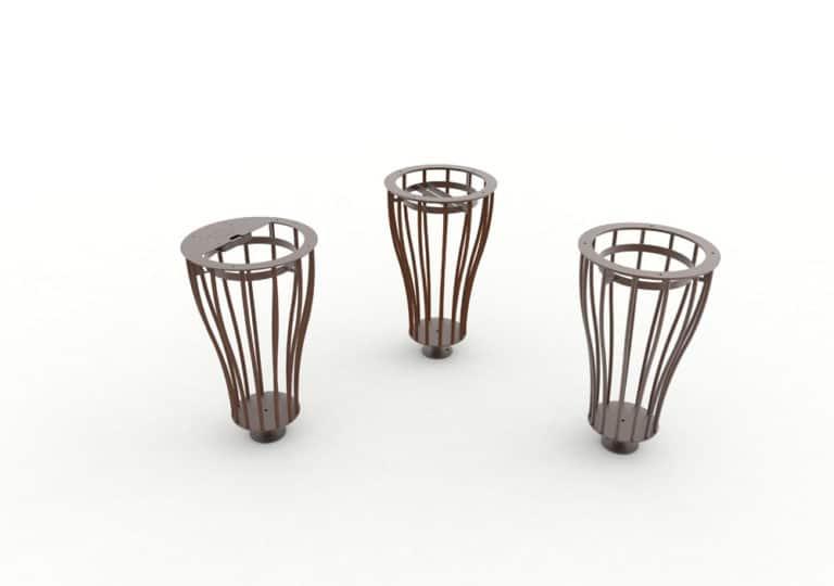 Les trois modèles de corbeilles Vigipirate vase TUB marron : une cendrier, une tri et une simple