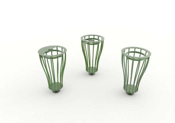Les trois modèles de corbeilles Vigipirate vase TUB vertes : une cendrier, une tri et une simple