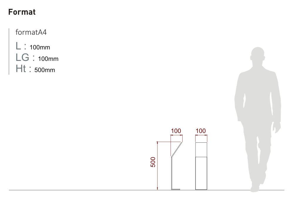 Un jalon ICARE est proposé au format A4 : longueur 100 millimètres, largeur 100 millimètres et hauteur 500 millimètres