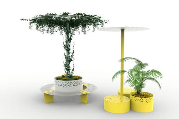 À gauche, une jardinière abri treillage LUD grise entourée de quatre banquettes courbes LUD jaunes ; à droite, une ombrelle LUD jaune avec deux bancs galets LUD jaunes et une jardinière LUD jaune