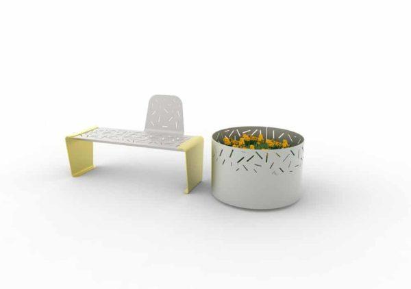 Un banc LUD à un seul dossier jaune et une jardinière LUD grise