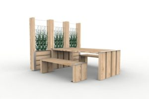 Trois jardinières treillage NUT accolée, et une table NUT avec deux banquettes NUT