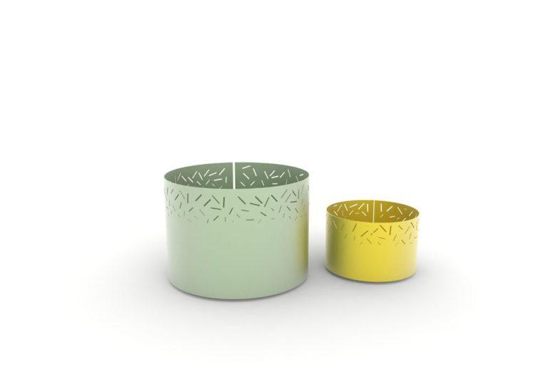 Une jardinière XL LUD verte et une jardinière LUD jaune