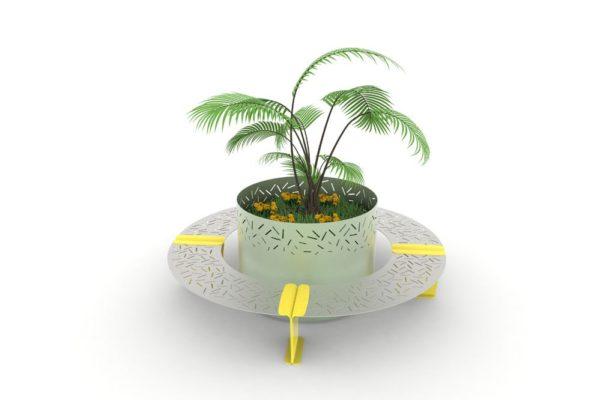 Une jardinière XL LUD verte entourée de quatre bancs courbes LUD jaunes