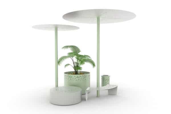 Une ombrelle LUD verte, un banc galet XL LUD gris, une jardinière XL LUD verte, une ombrelle XL LUD verte, un banc courbe LUD gris et une corbeille LUD verte, vue de haut