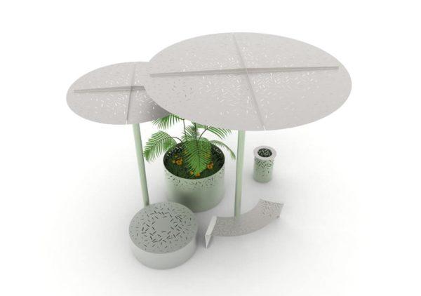 Une ombrelle LUD verte, un banc galet XL LUD gris, une jardinière XL LUD verte, une ombrelle XL LUD verte, un banc courbe LUD gris et une corbeille LUD verte, vue en plongée