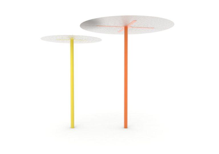 Une ombrelle LUD jaune et une ombrelle XL LUD orange