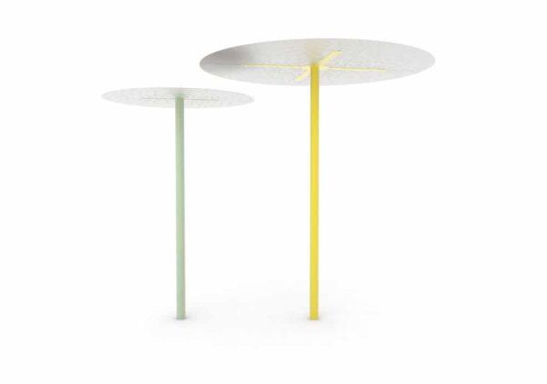 Une ombrelle LUD verte et une ombrelle XL LUD jaune