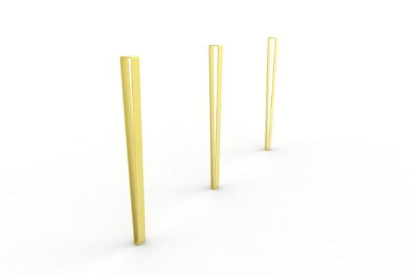 Trois potelets LUD jaunes