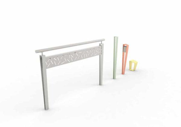 Une barrière LUD grise, un potelet LUD vert, un cendrier LUD orange et une borne LUD jaune