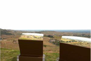 Incrustation d'une 3D de deux pupitres et tables de lecture ICARE dans un paysage réel