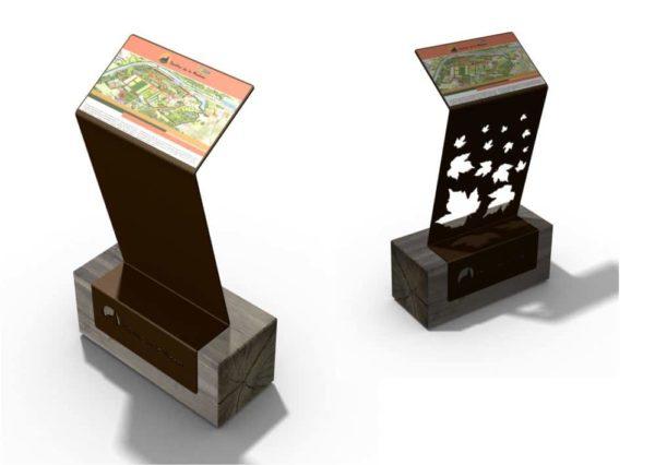 Deux pupitres et tables de lecture ICARE avec des motifs personnalisés