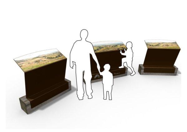 Rendu 3D de trois pupitres et tables de lecture ICARE présentant des paysages