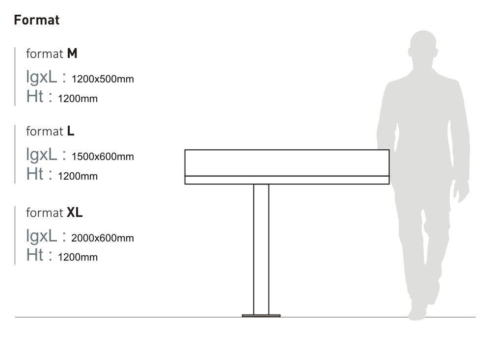 Le pupitre et table de lecture MASSILIA mesure 1 200 millimètres de hauteur et est proposé en trois tailles : format M (longueur 1 200 millimètres, largeur 500 millimètres), en format L (longueur 1 500 millimètres, largeur 600 millimètres) et format XL (longueur 2 000 millimètres, largeur 600 millimètres)