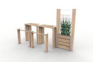 Deux tables bar NUT avec leur assis-debout NUT, et une jardinière treillage NUT accolée