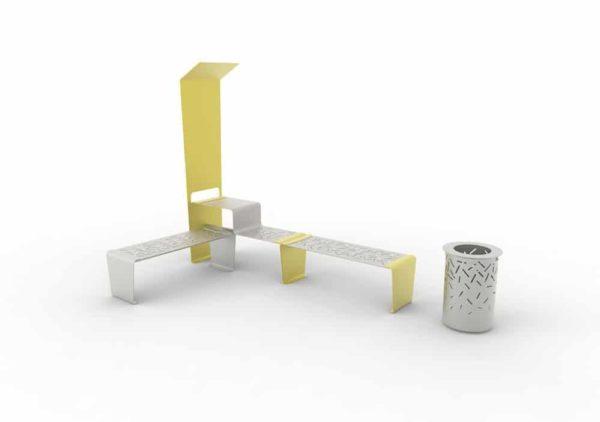 Une table connectée LUD jaune accolée à une banquette LUD jaune ; à gauche, une banquette LUD grise ; à droite, une corbeille LUD grise