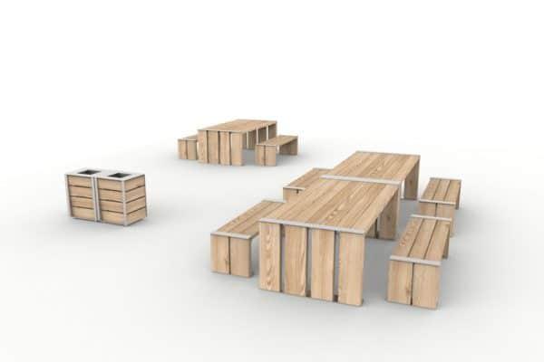 Au premier plan, à gauche, deux corbeilles NUT accolées et à droite deux tables NUT accolées avec leurs banquettes NUT ; au second-plan, une table NUT avec ses deux banquettes NUT