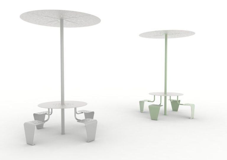 Deux tables pique-nique abritées LUD : une grise et une verte