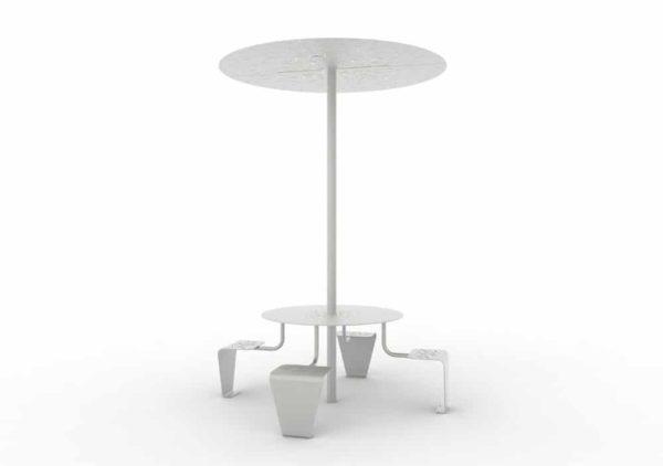 Une table pique-nique abritée LUD grise