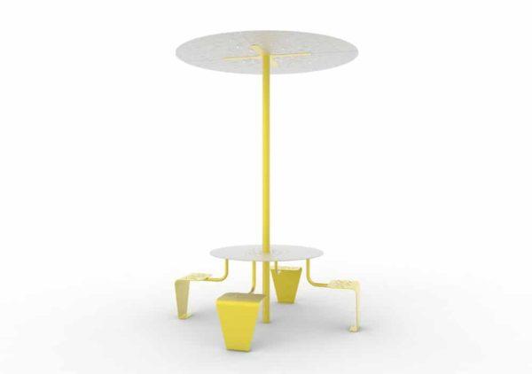 Une table pique-nique abritée LUD jaune